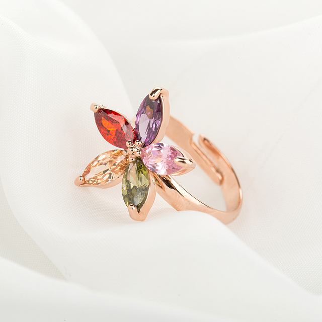 Adjustable Colourful Zircon Rose Ring