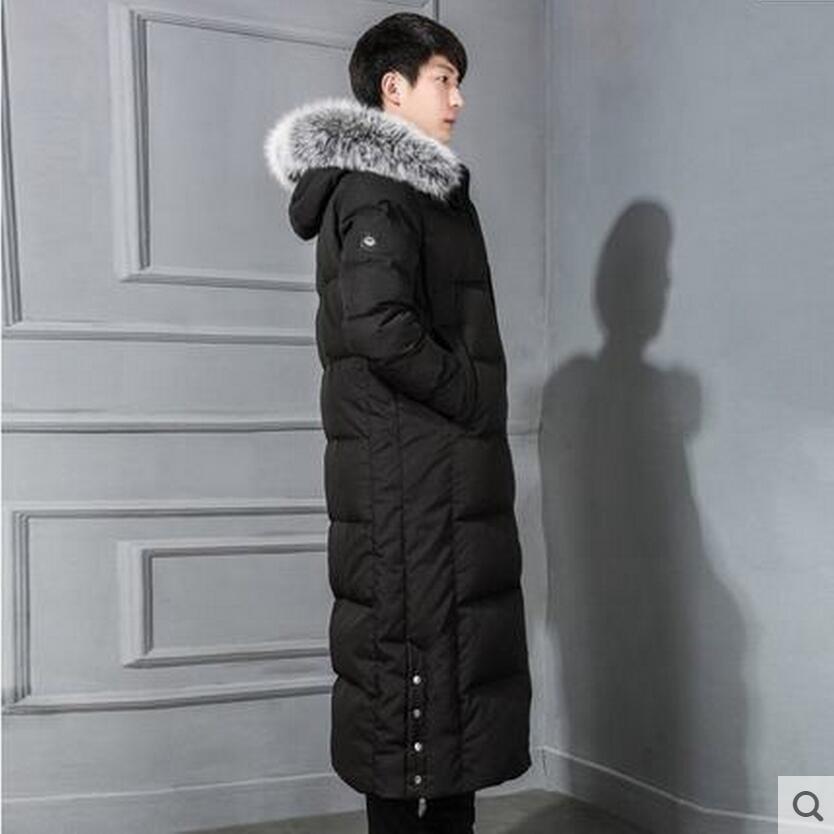 Men's Down Jacket Men Winter Duck Down Coat Over knee Length Down ...