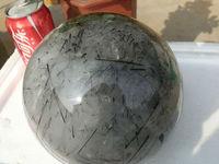 6800g(14.9 lb) Natural Black Tourmaline Hair Quartz Crystal Sphere China DSD005