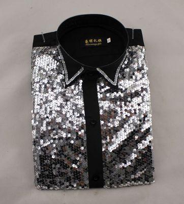 Новая Мода мужская clothing блестками рубашки платье певица stage танцевальное Ночные Клубы с длинным рукавом платье рубашки сорочка homme
