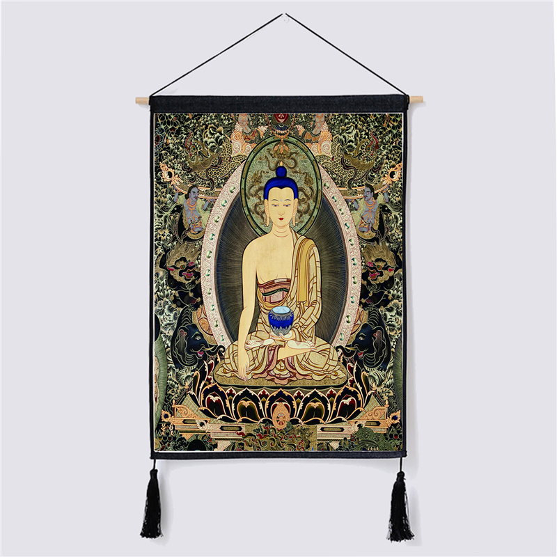 Image 2 - Traditional Thanka Beautiful Buddhist Scroll Painting Home Decor Wall Hanging Tapestry Cotton Linen Scroll Painting with Tassels-in Painting & Calligraphy from Home & Garden