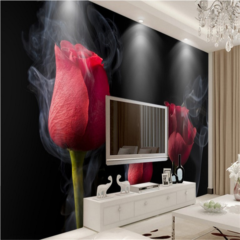 Beibehang Large Custom Wallpapers Romantic Smoke Red Roses
