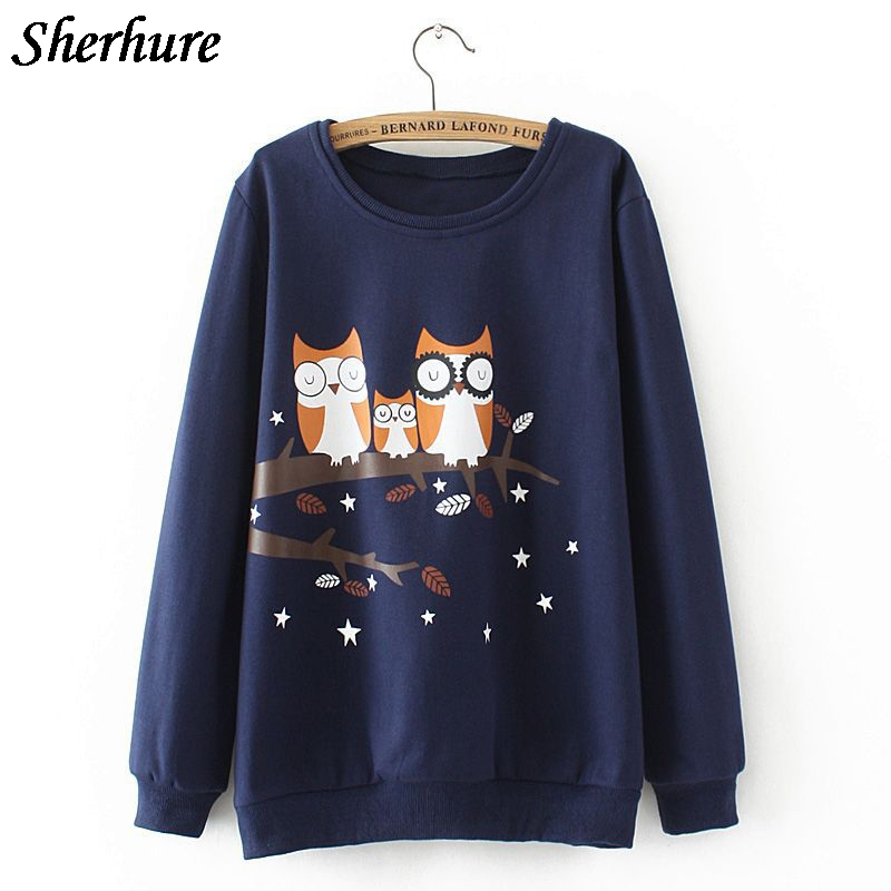 2018 Plus Size Spring Women Hoodies Owl Print Loose Long Sleeve Women Sweatshirts And Pullovers Female Oversized Tops Coat