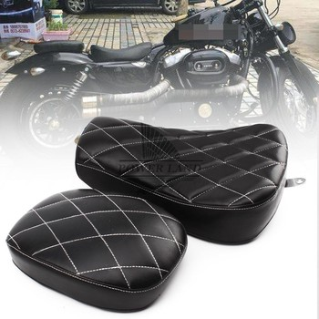Motorcycle 2pcs Black Driver+Passenger Two Up Seat Sofa Tour Seat Bench Rear Cushion Fits for Harley Sportster 883 1200 2010-15