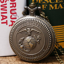 Antique Retro Design United States Marine Corps Theme Pocket Watch with Necklace Chain Men Women Best Gift