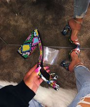 Liren 2019 Summer Fashion Sexy Lady Party Slingback Sandals Snake Pattern Mixed Colors Open Round Toe Square Heels Shoes