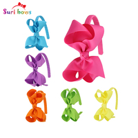 6 Pcs Set Suri Bows Multi Colors Hair Band With Flower Bows For Girls Party Hair