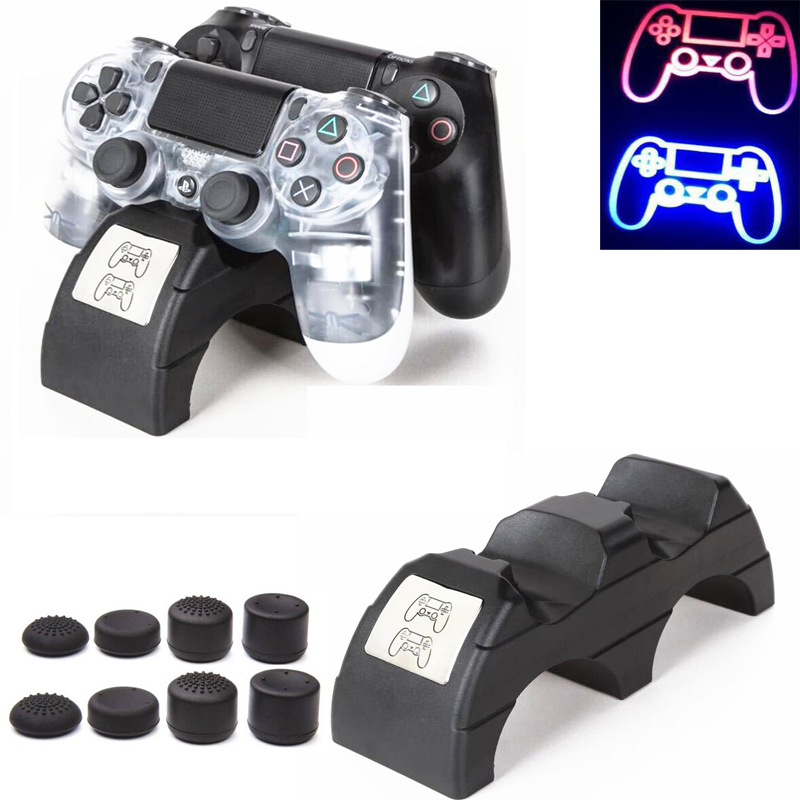 PS4 Controller Handle Dual USB Charging Dock Station Stand for Playstation 4 /PS4 pro /PS4 Slim LED Indicator Charger With caps
