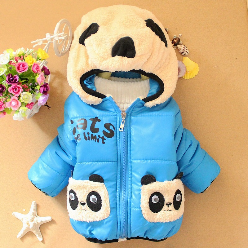 2015 new winter coat boys girls Dual bear pocket children padded coats and jackets for kids down & parkas