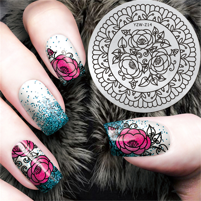 1 Pc Elegant Chic Flower Design Nail Art Stamp Plate Mandala