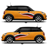 1 Pair Cool Shark Mouth Car Vinyl Wrap Animal Car Body Stickers for BMW Cooper Clubman F55 F56 Exterior Styling Flim