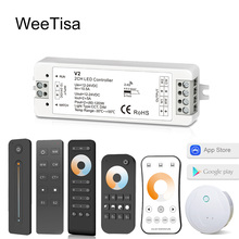 цена на 12V LED Dimmer WW CW 2CH 2.4G RF Wireless Remote Smart Wifi DC 24V 12 Volt CCT Controller for CT Single Color LED Strip Light
