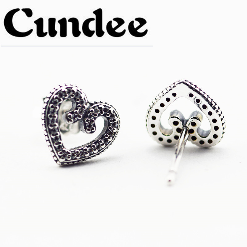 f9ef9ef3c 2018 Spring New S925 Sterling Silver Jewelry Heart Swirls Stud Earrings  With Clear CZ For Women Fashion Earrings Wholesale-in Stud Earrings from  Jewelry ...