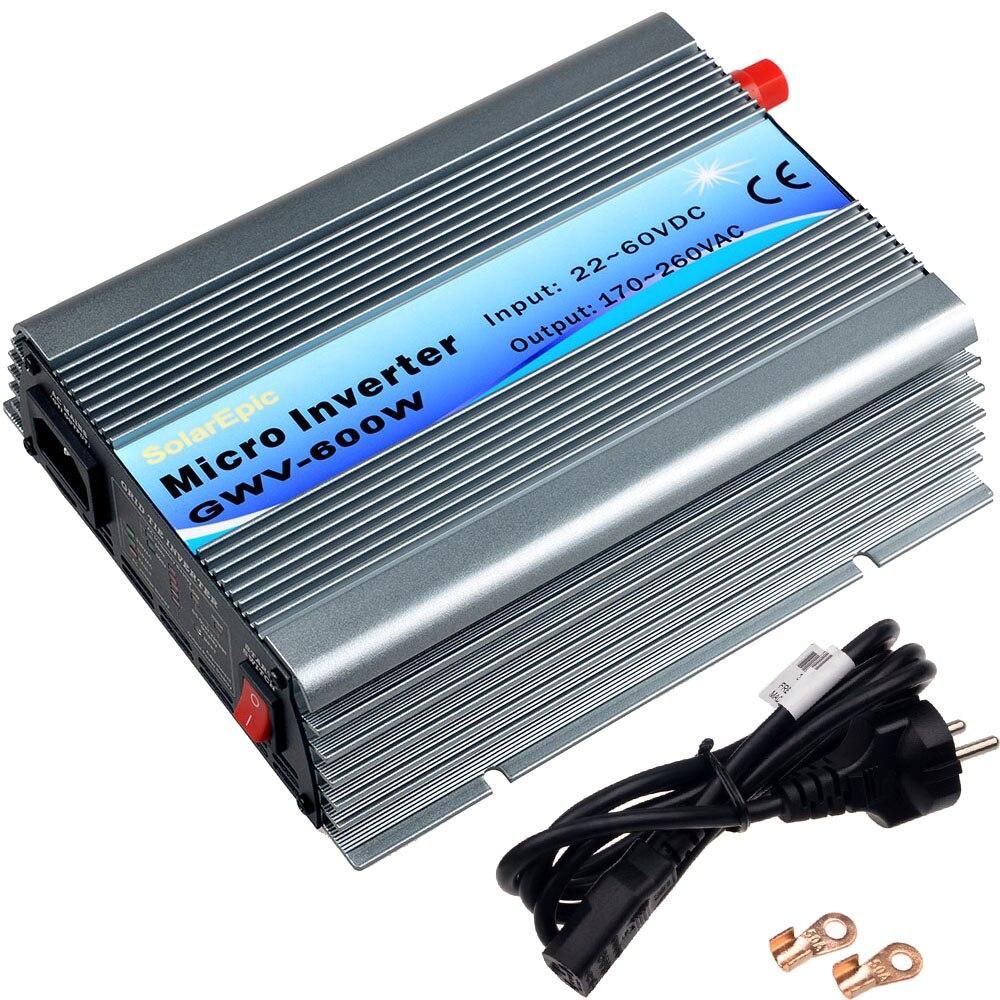 600W Solar Grid Tie Inverter DC18V / 22V-60V to AC110V/220V MPPT Pure Sine Wave Inverter 50Hz/60Hz