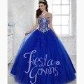 2016 Lindo Azul Royal Quinceanera Debutante Vestido Beading Querida Tulle vestido de Baile Barato Vestido para Festa Vestido de 15 años