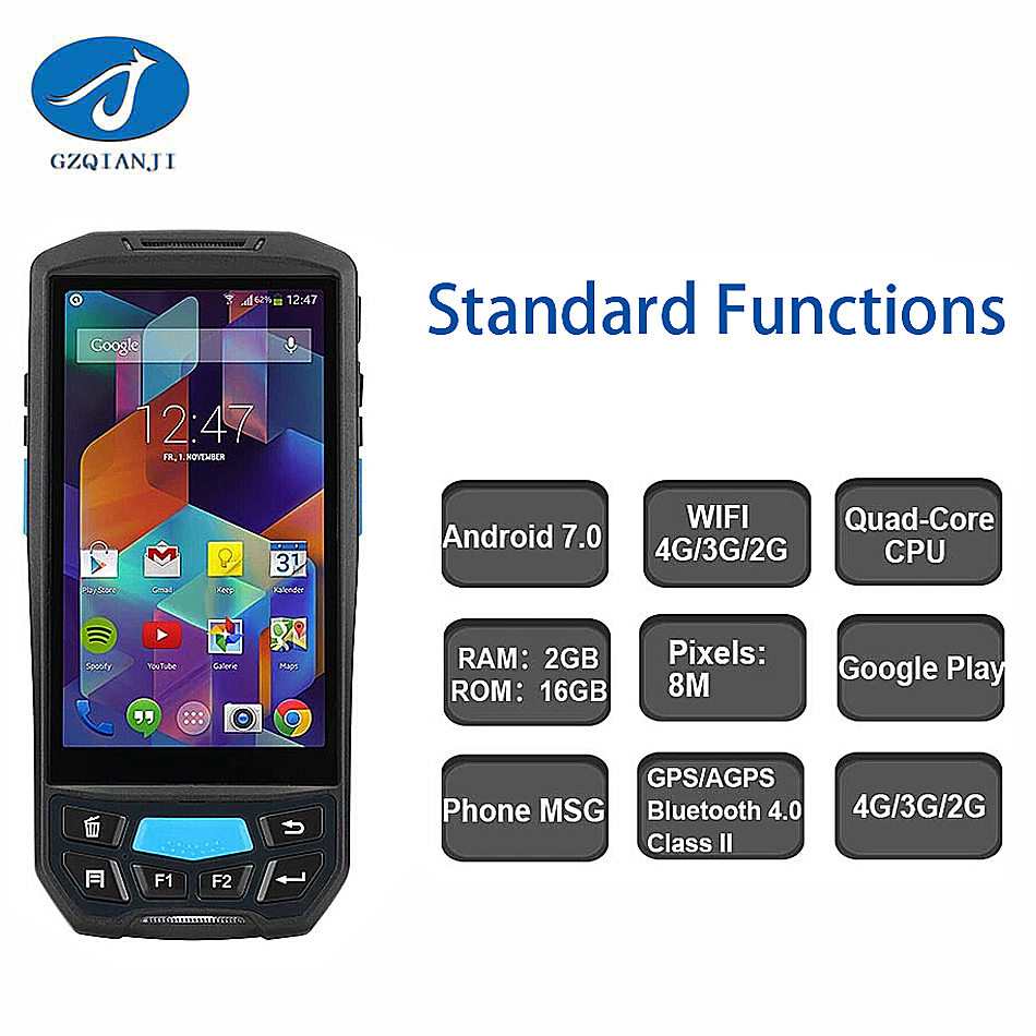 POS Terminal 2D handheld bluetooth 4.0 Wireless Data Collection PDA Terminal Android Handheld 2D Barcode Scanner with GPS GPRS ...
