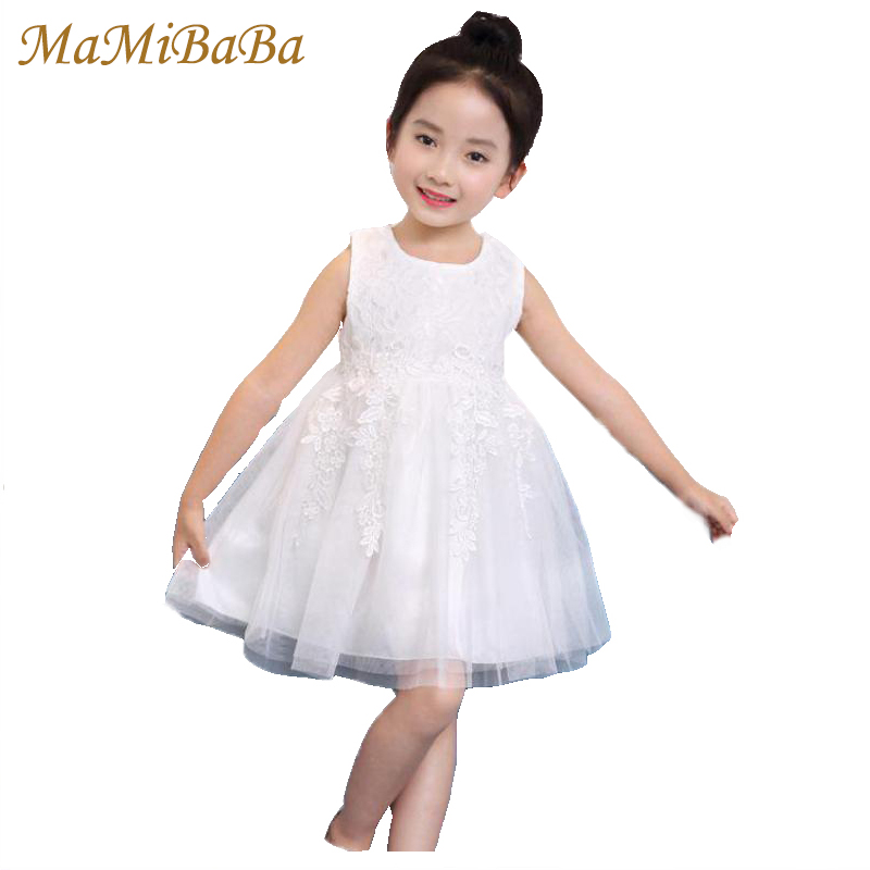 Children Baby Girl Lovely Dresses 2018 New Summer Solid Cotton Lace Sweet Sleeves Knee-length Ball Gown Dress Kid Clothing Ds565 new girls dress summer lace vest sleeveless princess peng baby girl children england style knee length crew neck ball gown