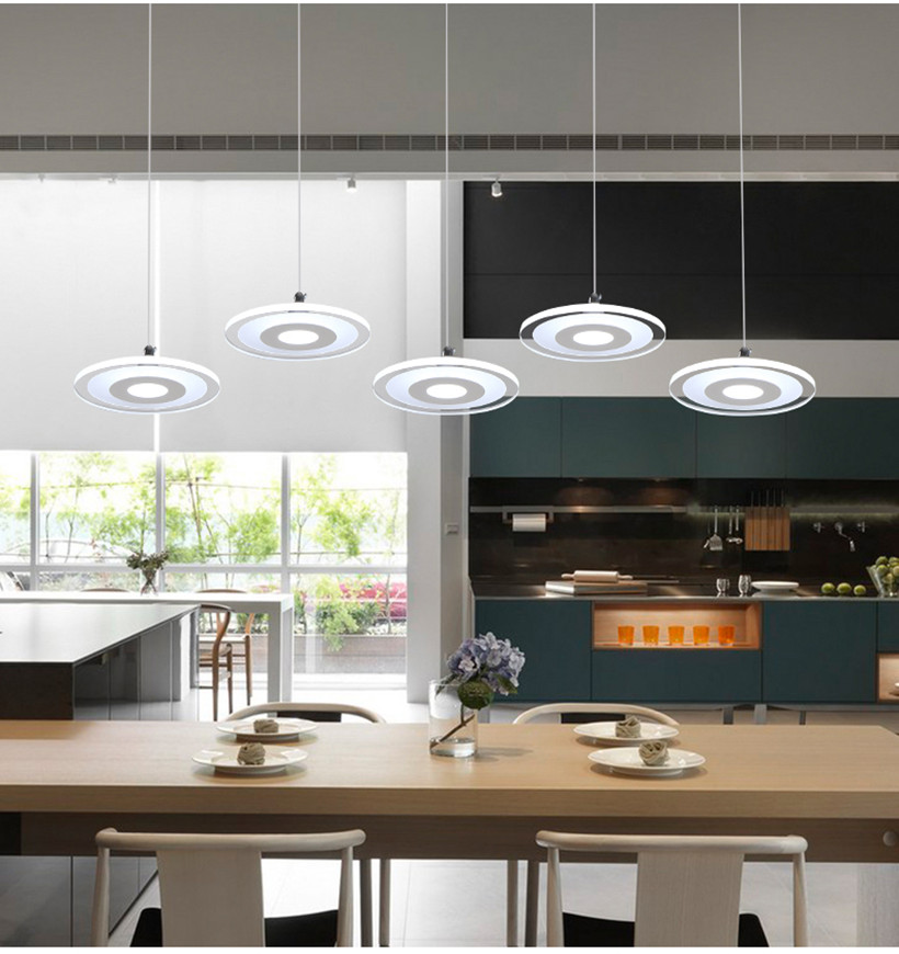 LED Dining Room Pendant Lights;Postmodern Simple Nordic Living Room Lamp;Creative Pendant lamp with Bar Rings;Dining Room