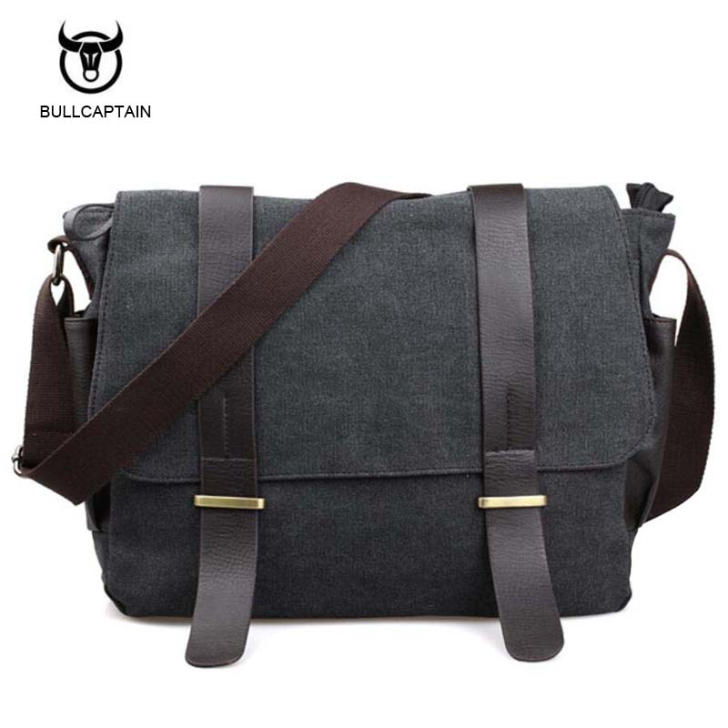 Bullcaptain Retro Men Briefcase Business Shoulder Bag Canvas Messenger Bags Man Handbag Tote Bag Casual Travel Bag Sac Hommes bullcaptain 2017 men casual briefcase business shoulder bag leather messenger bags computer laptop handbag bag men s travel bags