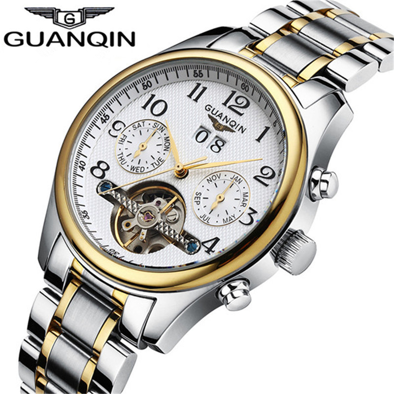 Watches MenTop Brand Luxury GUANQIN Automatic Watch Men Waterproof Luminous Commerce Retro Mechanical Wind Watches 2017 guanqin mechanical watch luxury automatic watch men top brand automatic self wind watches date gold waterproof wristwatch