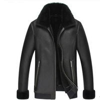 Free Shipping Gold Fur One Piece Leather Clothing Leather Coat Male Sheepskin Genuine Leather Men