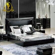 modern bedroom furniture leather bed soft black color big bed wooden home furniture