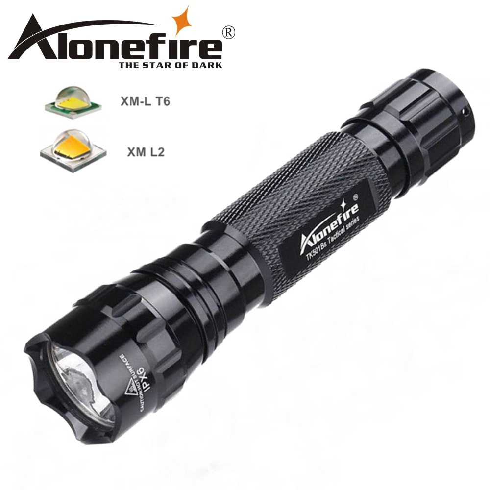 AloneFire 501Bs CREE XML T6 L2 Tactical Led Flashlight Spotllight Torch Camping Lantern Hunting Lamp 18650 Rechargeable Battery