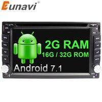 Eunavi 4 ядра универсальный авто радио мультимедиа 2Din Android 7,1 8,1 автомобилей Радио Dvd плеер стерео Gps Navi + Wi Fi bluetooth в тире