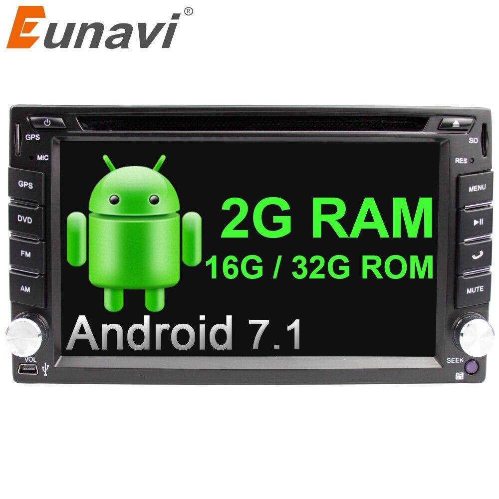 Eunavi Quad Core האוניברסלי Autoradio מולטימדיה 2Din אנדרואיד 7.1 8.1 רכב רדיו Dvd נגן סטריאו Gps Navi + wifi + bluetooth בדאש