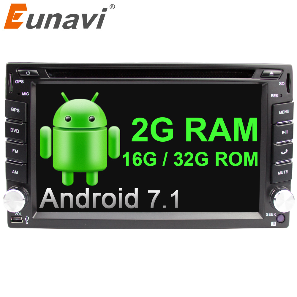 Eunavi Quad Core Universal Autoradio Multimedia 2Din Android 7,1 8,1 coche Radio Estéreo reproductor de Dvd Navi del Gps + wifi + bluetooth en el tablero