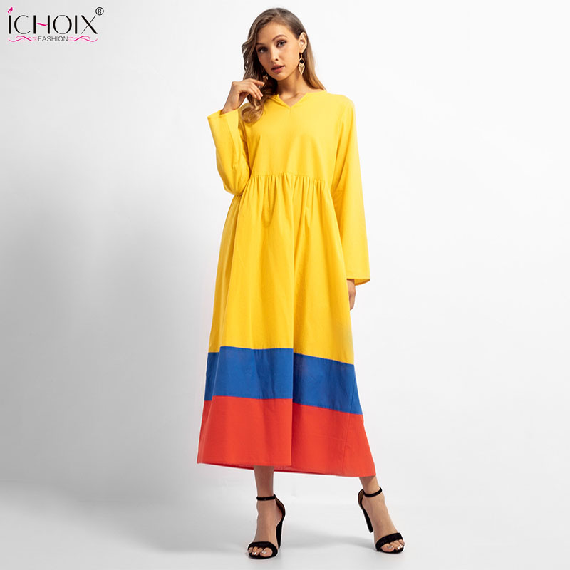 11.11 Clothing Long Loose Moslim Robes V Neck Ankle Length Yellow Dress Long Sleeve Womens Cacual Maxi Dress Winter Plus Size