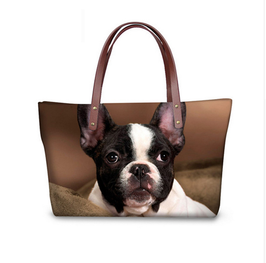 Woman Handbags Causal Shoulder Strap Bag Ladies Tote Bags Womens Female Boston Terrier Print Beach Shoes Bag Bolsos Mujer