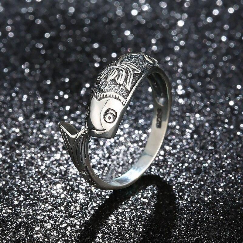 Aziz bekkaoui 925 Lotus Goldfish anillo Vintage carpa patrón clásico anillo para las mujeres hombres Cool party mejor regalo