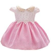 Recién nacido 1 Año Vestido de Cumpleaños Del Bebé Ropa Niños Del Bautizo Del Cordón Del vestido de Bola Beads Decoración de Eventos vestidos de Fiesta Vestido De la Muchacha Del Niño