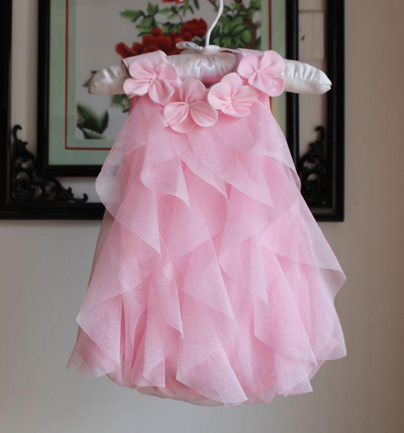 319186b4695 Cute Baby Pink Flowers Chiffon Tutu Dress Girls Sleeveless Summer Romper  Dresses with Veil Ruffles Newborn