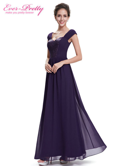 [Clearance Sale] Evening Dress Ever Pretty HE08571PP Women Dress Purple Round Neck Robe De Soiree Long Evening Dresses