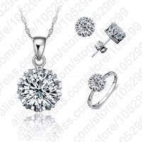 4 Ring Size Hot Sale Women Wedding 925 Sterling Silver Jewelry Sets CZ Cubic Zirconia Necklace