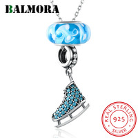 BALMORA 100% Real 925 Sterling Silver Jewelry Unique Bead Pendant Necklaces for Women Girl Lovely Gift with Silver Chain SVM012