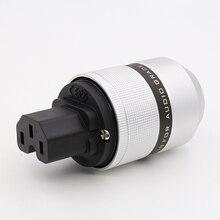 Gratis verzending een stuk Power Zuiver Koper G Plated Koper AC Netsnoer Vrouwelijke Plug IEC C7 plug