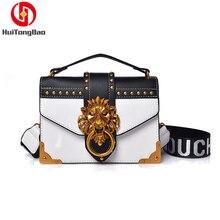 Fashion Women Metal Lion Head Mini Small Square Pack Shoulder Crossbody Bag Clutch Designer Wallet Handbags Flap Messenger Bags
