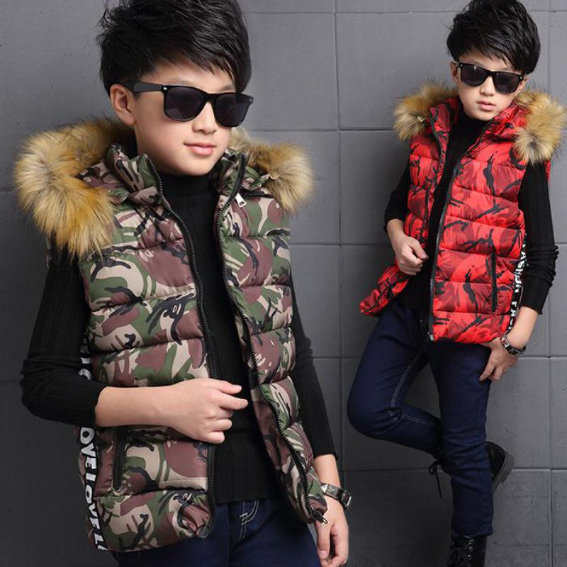 Boys Autumn Winter Vest 2017 New Slim Hooded Cotton Vest Fashion Camouflage Print Kidss Waistcoat Vest Mode Enfant Fille Gilet