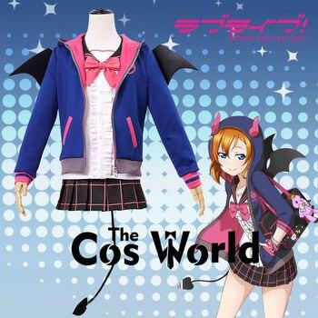 Love Live School Idol Project Kousaka Honoka Bat Little Devil Demon Fancy Dress Uniform Outfit Anime Cosplay Costumes