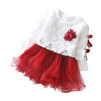 New Fashion Cotton Baby Girl Dress Lace Mesh Infant Princess Dress Flower Long Sleeved Christening Gown