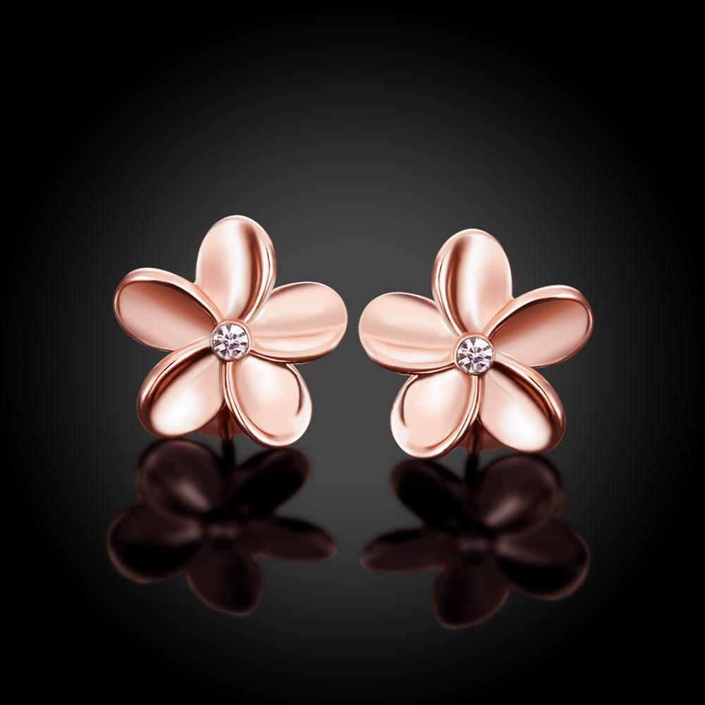 Women S Fashion Jewelry Charm Rose Gold Stud Earrings Beautiful Flower Gift Box E027 In From Accessories On