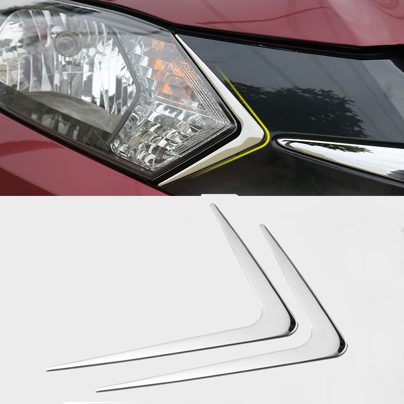 CHROME HEAD LIGHT FRONT LAMP TRIANGLE <font><b>TRIM</b></font> COVER MOLDING STYLING BEZEL LID GARNISH FOR <font><b>HONDA</b></font> <font><b>HRV</b></font> VEZEL HR-V 2014 2015 2016 image