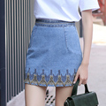Yichaoyiliang High Waist Denim Skirts Embroidery A-line Mini Skirts Summer 2017 New Preppr Style Casual Short Skirts Jeans Skirt