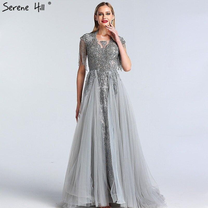 1237ccdcb2f7c Grey Crystal Tassel Luxury Evening Dresses 2019 Latest Design O-Neck Sleeveless  Lace Evening Gowns