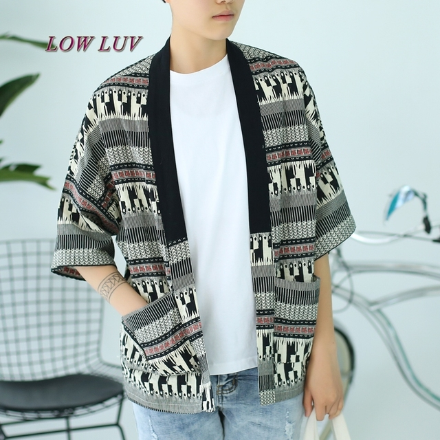 Japan Style Summer Jacket Men Fashion Literary Graffiti Loose Kimono