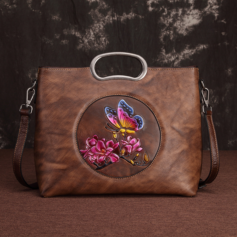 High Quality Genuine Leather Women Shoulder Bag Floral Butterfly Pattern Vintage Style Female Handbag Messenger Tote BagsHigh Quality Genuine Leather Women Shoulder Bag Floral Butterfly Pattern Vintage Style Female Handbag Messenger Tote Bags