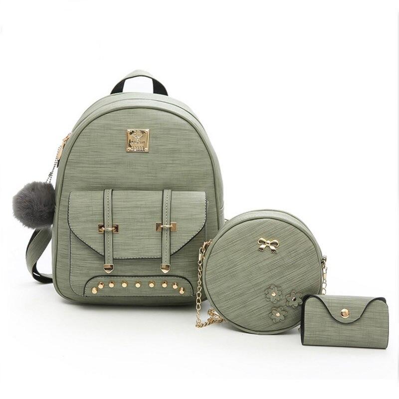 14c5c69b4247 Модный женский 2019 милый рюкзак для подростков Детский рюкзак комплект 3  шт. рюкзак сумка на